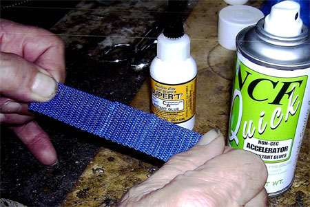 Two nylon strips permanently bonded with Super T CA glue and NCF Quick accelerator
