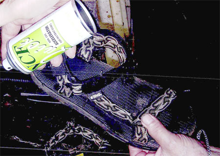 A sandal which has been repaired with Super T instant glue and NCF Quick accelerator