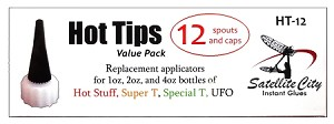 HT-12 Hot Tips <b>Replacement Spouts and Overcaps 12/box</b> fits 1oz, 2oz, and 4oz CA glue bottles